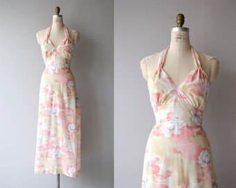 Letitia halter maxi dress | vintage 1970s dress | floral 70s maxi dress