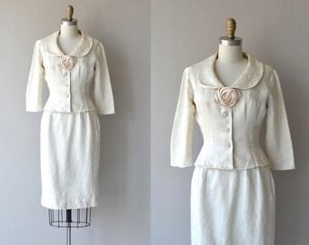 Oleander suit | vintage 1950s suit | white brocade 50s suit