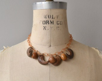 Brazil Nut necklace | 1940s celluloid necklace | wood 40s necklace
