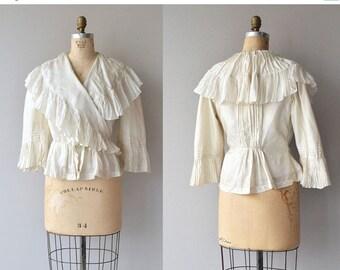 25% OFF SALE Calla silk blouse | Victorian silk blouse | antique 1800s ruffled blouse