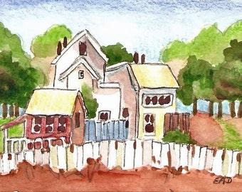 """ACEO watercolor print landscape """"Village"""""""