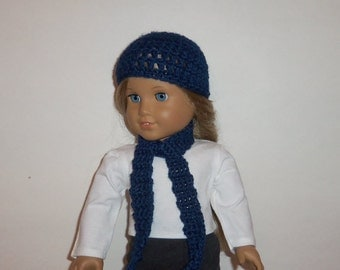 18 inch Doll Hat, Crochet Scarf,  Navy Blue , Accessories, American Made, Girl Doll Clothes