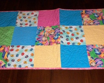 Quilted Table Runner, Easter Bunny, Colored Eggs, 16x43 Inches, Table Topper,  Sale Priced, Machine Quilted, Dining Decor