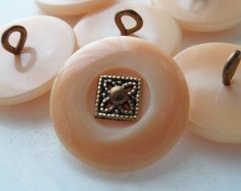 Vintage Buttons Six Butterscotch/Peach Metal Center Buttons