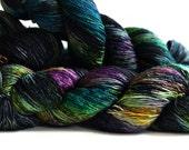 Gothic Potion 400 yards on HT 'Lustre' Sock Fingering Yarn/ single merino yarn spreckle