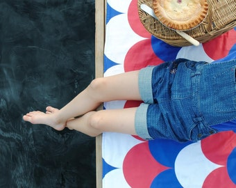 Nautical Picnic Blanket, ORGANIC Picnic Blanket, Americana, Waterproof