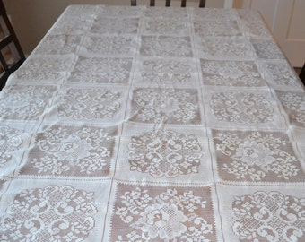 Vintage Tablecloth Flowers in Windows Lace