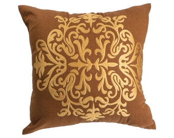 Damask Throw Pillow Cover, Decorative Pillow Cover, Embroidered Pillow, Russet Brown Linen,Gold Damask, Home Decor, Pillow Case, Cushion