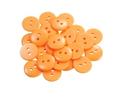 Set of 25 Smooth Round Plastic 2-Holed Craft Sewing Buttons - The Simplest Solid Creamsicle Orange (11mm)