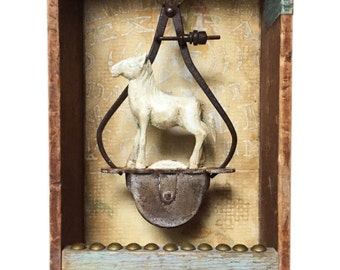 "Assemblage Art Box Sculpture ""One Trick Pony"" Horse Art"