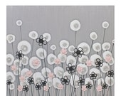 ON SALE Modern Nursery Art in Gray and Pink - Textured Flower Canvas Painting - Small 24x20