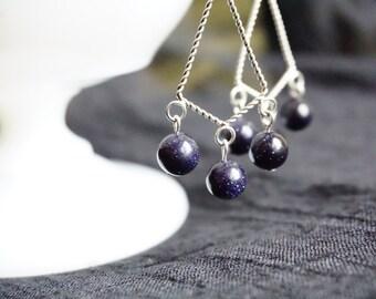 Elegant navy blue chandelier earrings