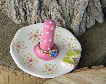 Ring Dish Jewlery holder ceramic  White pink and green with flip flops  Beach   Ring bearer wedding