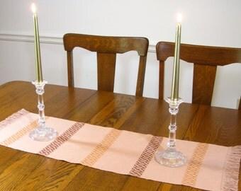 37 Inch Handwoven Table Runner Woven Table Scarf Buffet Scarf Hand Woven Coffee Table Runner Camel, Orange n Brown Table Runner Table Linens