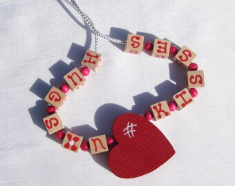 Valentine Heart Jewelry Hand Painted Heart Necklace Hugs and Kisses Necklace Wooden Heart Pendant Necklace Hugs n Kisses