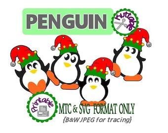 Set 01 Christmas Gift Penguin Tag  Set of 4 Cut Files MTC  SVG File Format