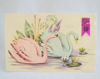 Meyercord Decals  Swans Pink & Blue Vintage In Original Package-Craft-Design Decorate