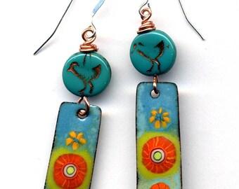 Enamel Earrings, Unique Earrings, Sterling Silver Enamel Earrings, Bird Earrings, Cooper Boho Earrings, Flower Earrings by AnnaArt72