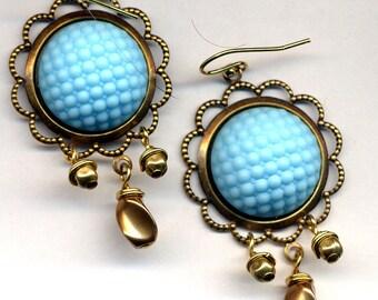 Golg Blue Earrings, 18 K Gold Filled Earrings, Hobnail Vintage Glass Earrings, Statement Gold Earrings, German Glass Earrings