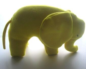 Bright Yellow  Elephant Cuddly  Stuffed Animal Original Pattern Soft Fleece Plush No Buttons Ready to Ship