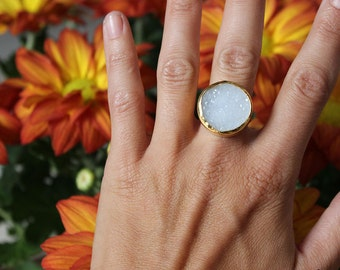 Blue Lace Agate Druzy Lost & Found Ring in gold-plated silver - ready to ship size 6