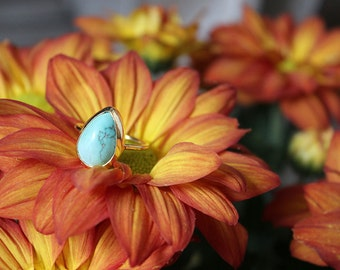 Turquoise Lost & Found Ring in gold-plated silver - ready to ship size 7