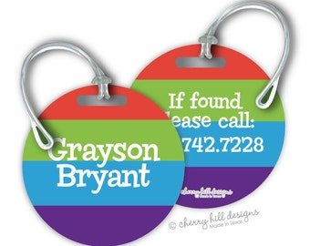 BRIGHTS Round premium bag tags - 4 inch - click on image to enlarge - seen in Parents magazine and Family Fun magazine
