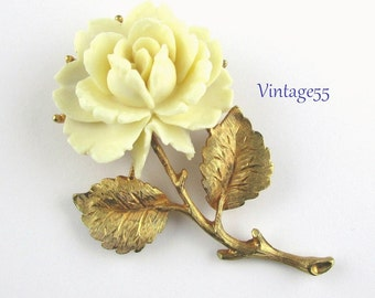 Brooch Rose Celluloid Gold tone