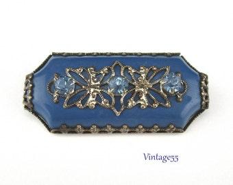 Brooch Blue Rhinestone Filigree 1920