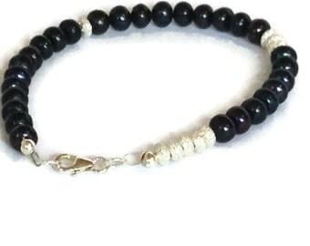 Black Pearl & Sterling Silver Bracelet