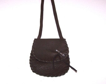 BLACK Leather Medicine Bag /  Neck Pouch....XL Simple Flap...Smooth