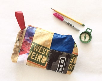 Upcycled Zipper Pouch, Make Up Bag, Recycled Material