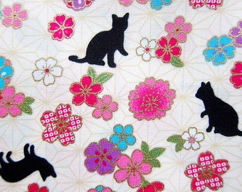 Animal Print Fabric - Cats and Cherry Blossoms - Cotton Fabric - Fat Quarter