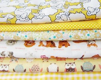 Yellow Fabric Bundle - Fat Quarter Fabric Bundle of 6 Prints - Japanese Fabric Bundle