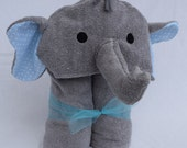 Elephant Hooded Towel - Blue Polka Dot Ears - Great birthday or baby shower gift