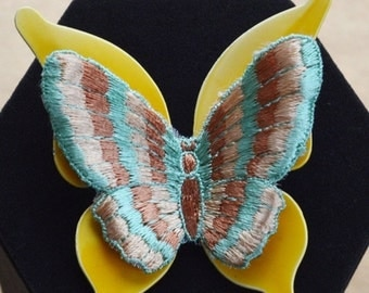 On sale Colorful Vintage Embroidered, Plastic Butterfly Brooch, Yellow, Blue, Peach, Beige (Y8)