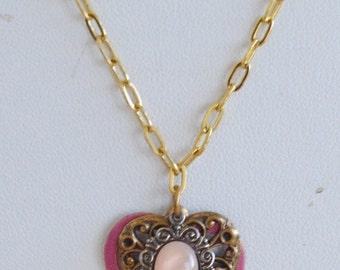On sale Pretty Vintage Fuschia Pink, Gold tone Filigree Heart Necklace, 18' (F2)