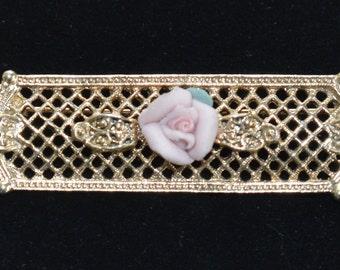 "Pretty Vintage Pink Porcelain Rose, Gold tone Filigree Bar Brooch, Pin, ""1928"" (N8)"