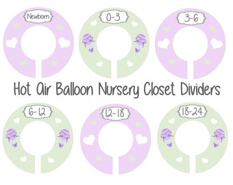 Hot Air Balloon Closet Dividers, Lavender Mint  Nursery, Closet Divider for Nursery, Plastic Clothes Dividers, Oh The Places You Will Go,