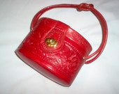 Vintage 1940's Mexican Red Round Tooled Leather Purse/Handbag
