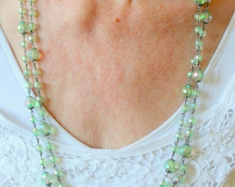 Vintage Necklace Irridescent Green Beaded Long Layering