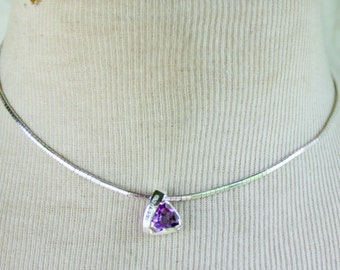 STERLING Necklace Silver Amethyst Purple Thick 925