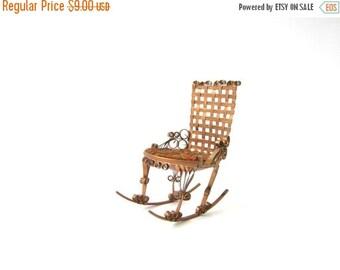 Vintage Folk Tramp Art Tin Can Rocking Chair Naive Aluminun Miniature Chair