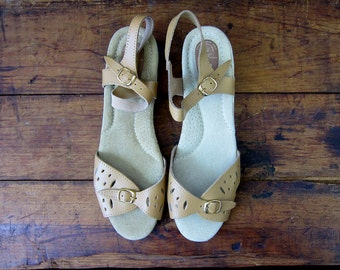 Tan Leather Sandals Vintage CUT OUT Minimal Buckled Strappy Sandals with Ankle Straps Boho Summer Shoes wedges Women's Size 10