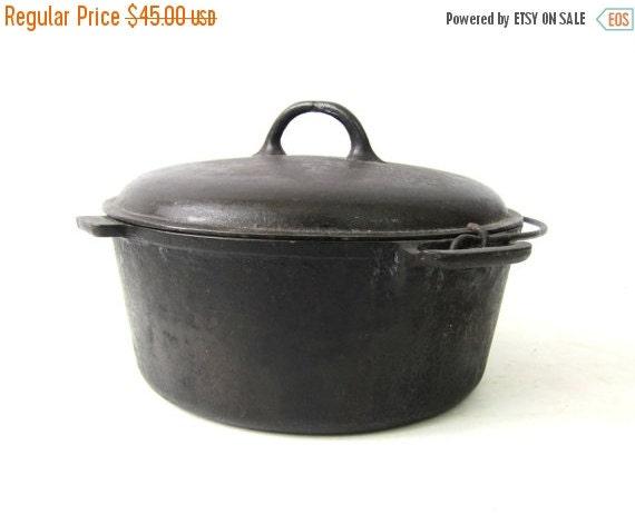 Vintage Cast Iron Dutch Oven Large Black By
