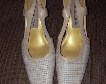 Vintage Bellini  Women's Shoes Size 7 USA Tan Cream Goldish Pumps Unused condition see pictures