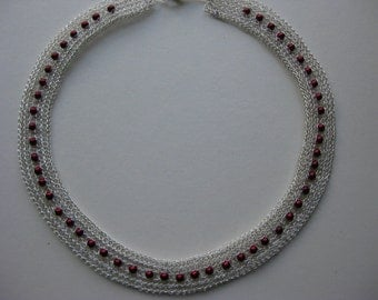 Necklace / choker  - Silver and coloured bead statement necklace