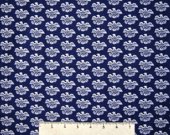 Americana Fabric -White Eagle on Blue Calico - Mary Fons Small Wonders YARD