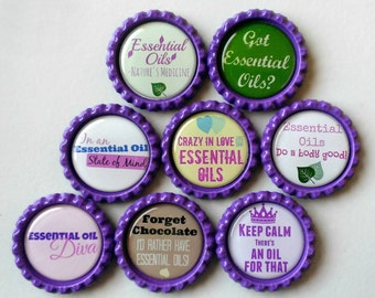 Essentail Oil Magnets, Strong Bottlecap Magnets with Organza Bag, Set of 8