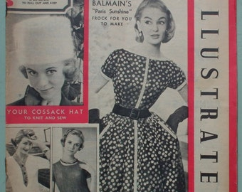 Woman's Illustrated 1956 vintage 1950s 50s UK women's magazine fashion knitting patterns women's sweaters Russian hat Christian Dior cookery